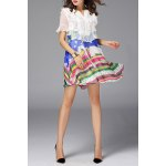 Ruffled Design Colorful Dress deal