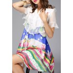 cheap Ruffled Design Colorful Dress