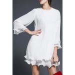 Solid Color Flounce Ruffles Dress