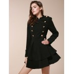 cheap Vintage Stand Collar Buttons Embellished Long Sleeve Ruffles Dress For Women