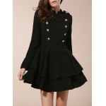Vintage Stand Collar Buttons Embellished Long Sleeve Ruffles Dress For Women