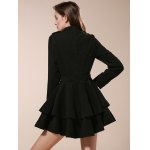 Vintage Stand Collar Buttons Embellished Long Sleeve Ruffles Dress For Women for sale