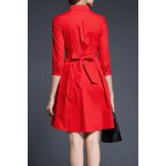 cheap A-Line Solid Color Belted Dress