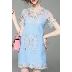 Flower Embroidered See Through Two Piece Dress