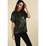 Short Sleeve Sparkly Sequins Stripe T-Shirt deal