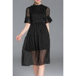 Half Sleeve See-Through Polka Dot Dress