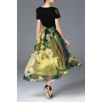 cheap Belted Floral Print Maxi Dress