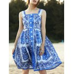 Stylish Straps Sleeveless Fitting Floral Print Women's Dress