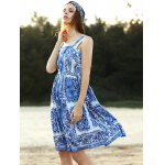 Stylish Straps Sleeveless Fitting Floral Print Women's Dress for sale