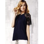 Chic Women's Lace Spliced Keyhole Neck Short Sleeve Blouse for sale