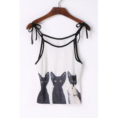 Spaghetti Strap Cats Print Lace-Up Tank Top