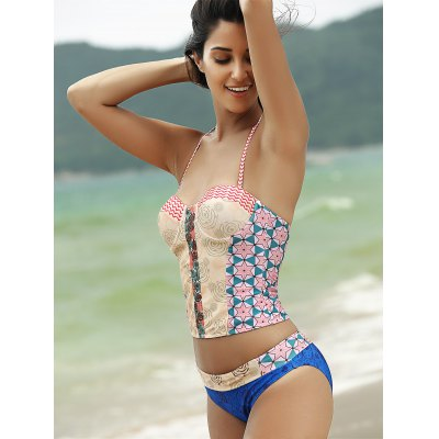 Fashionable Halter Print Cut Out Tankini Set For WomenWomens Swimwear<br>Fashionable Halter Print Cut Out Tankini Set For Women<br><br>Swimwear Type: Tankini<br>Gender: For Women<br>Material: Polyester<br>Bra Style: Padded<br>Support Type: Wire Free<br>Neckline: Spaghetti Straps<br>Pattern Type: Print<br>Waist: Natural<br>Elasticity: Micro-elastic<br>Weight: 0.201kg<br>Package Contents: 1 x Top  1 x Briefs