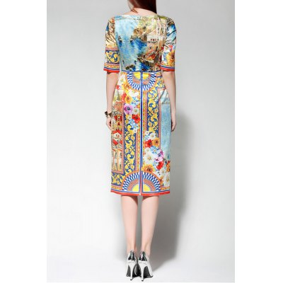 Sequined Colorful Midi DressDesigner Dresses<br>Sequined Colorful Midi Dress<br><br>Style: Vintage<br>Occasion: Day,Party<br>Material: Polyester<br>Composition: 100% Polyester<br>Silhouette: A-Line<br>Dresses Length: Mid-Calf<br>Neckline: Jewel Neck<br>Sleeve Length: Half Sleeves<br>Waist: Empire<br>Embellishment: Sequined<br>Pattern Type: Print<br>Elasticity: Micro-elastic<br>With Belt: No<br>Season: Summer<br>Weight: 0.380kg<br>Package Contents: 1 x Dress