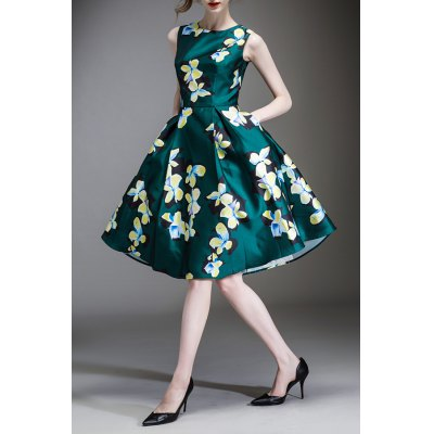 Waisted Corset Clover Print Dress