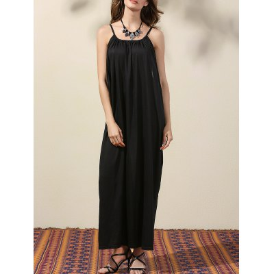 Elegant Drop Armhole Maxi Women's Strap Dress