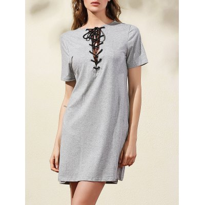 Casual Lace-Up Solid Color A-Line Dress For Women