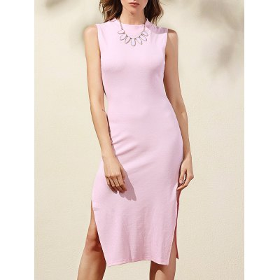 Slimming Mock Neck Side Slit Women's Bodycon Dress