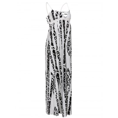 Elegant Strappy Abstract Print Dress For Women