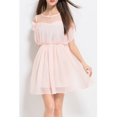 Solid Color Ruffles Pleated Dress