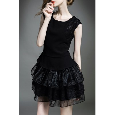 Solid Color Gauze Splicing Dress