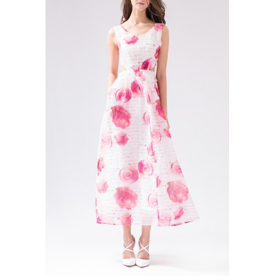 V Neck Rose Print Hollow Out Dress