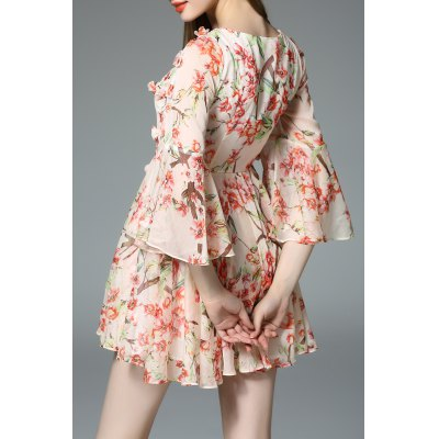 Flounced Sleeve Flower Print DressDesigner Dresses<br>Flounced Sleeve Flower Print Dress<br><br>Style: Cute<br>Occasion: Beach,Causal,Day<br>Material: Silk<br>Composition: 100% Silk<br>Neckline: Jewel Neck<br>Silhouette: Beach<br>Dresses Length: Mini<br>Sleeve Length: 3/4 Length Sleeves<br>Pattern Type: Print<br>With Belt: No<br>Season: Spring,Summer<br>Weight: 0.270kg<br>Package Contents: 1 x Dress