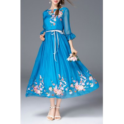 Floral Embroidered Boat Neck Long Dress