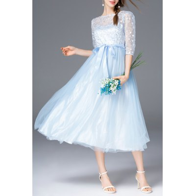 Embroidered Belted Tulle Dress