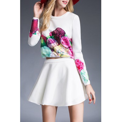 Floral Print T-Shirt and High Waist Pure Color Skirt