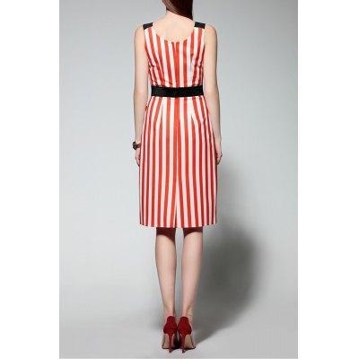 Sleeveless Embroidered Striped DressDesigner Dresses<br>Sleeveless Embroidered Striped Dress<br><br>Style: Casual<br>Occasion: Casual,Day,Night Out<br>Material: Cotton,Polyester<br>Composition: Outer Composition:65% Cotton,35% Polyester&lt;br&gt;Lining Composition:100% Polyester<br>Silhouette: Sheath<br>Dresses Length: Knee-Length<br>Neckline: Scoop Neck<br>Sleeve Length: Sleeveless<br>Waist: Empire<br>Embellishment: Embroidery<br>Pattern Type: Striped<br>Elasticity: Micro-elastic<br>With Belt: No<br>Season: Summer<br>Weight: 0.370kg<br>Package Contents: 1 x Dress