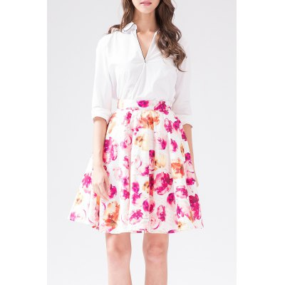 Rose Print Mini High Waist Skirt