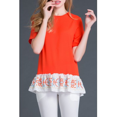 Round Collar Short Sleeve Embroidery T-Shirt