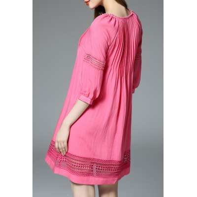Openwork Loose Pleated Mini DressDesigner Dresses<br>Openwork Loose Pleated Mini Dress<br><br>Occasion: Casual<br>Material: Cotton,Polyester<br>Composition: 35% Cotton,65% Polyester<br>Dresses Length: Knee-Length<br>Neckline: Jewel Neck<br>Sleeve Length: 3/4 Length Sleeves<br>Pattern Type: Solid<br>With Belt: No<br>Season: Spring,Summer<br>Weight: 0.320kg<br>Package Contents: 1 x Dress