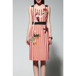 Sleeveless Embroidered Striped Dress