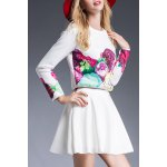 cheap Floral Print T-Shirt and High Waist Solid Color Skirt