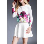 Floral Print T-Shirt and High Waist Solid Color Skirt deal