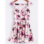 Vintage Sleeveless Floral Print Waisted A Line Dress For Women