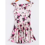 cheap Vintage Sleeveless Floral Print Waisted A Line Dress For Women