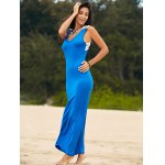 best Stylish Scoop Neck Sleeveless Lace Hook Hit Color Women's Dress
