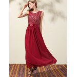 Trendy Lace Bodice Maxi Women's Prom Dress for sale