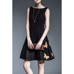 Buy Waisted Corset Butterfly Embroidered Dress M BLACK