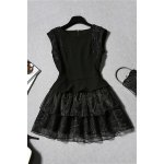 Solid Color Tiered Gauze Spliced Dress for sale