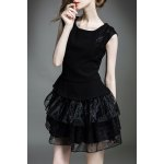 Solid Color Gauze Spliced Dress