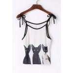 Cute Spaghetti Strap Cats Print Lace-Up Tank Top For Women