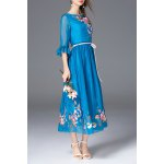 Floral Embroidered Boat Neck Long Dress deal