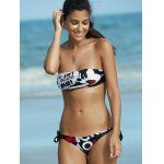 Cute Letter Print Strapless Push Up Women's Bikini Set deal