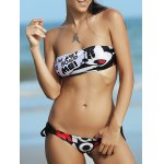 Cute Letter Print Strapless Push Up Women's Bikini Set