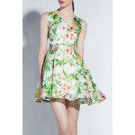 V Neck Floral Pattern High Waist Dress