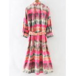 cheap Stylish Tie-Dyed Shirt Dress With Belt For Women