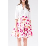 Rose Print High Waist Mini Skirt